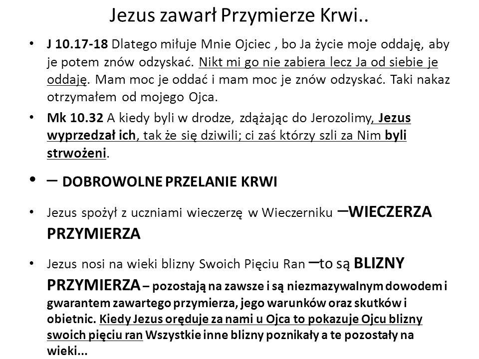 Jezus zawarł Przymierze Krwi..