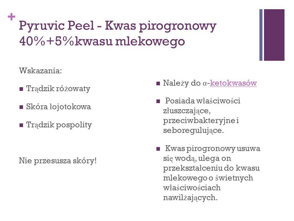 + Pyruvic Peel - Kwas pirogronowy 40%+5%kwasu mlekowego Wskazania: Tr ą dzik ró ż owaty Skóra ł ojotokowa Tr ą dzik pospolity Nie przesusza skóry! Nal