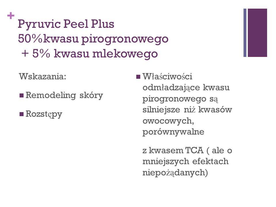 + Pyruvic Peel Plus 50%kwasu pirogronowego + 5% kwasu mlekowego Wskazania: Remodeling skóry Rozst ę py Właściwości odmładzające kwasu pirogronowego są