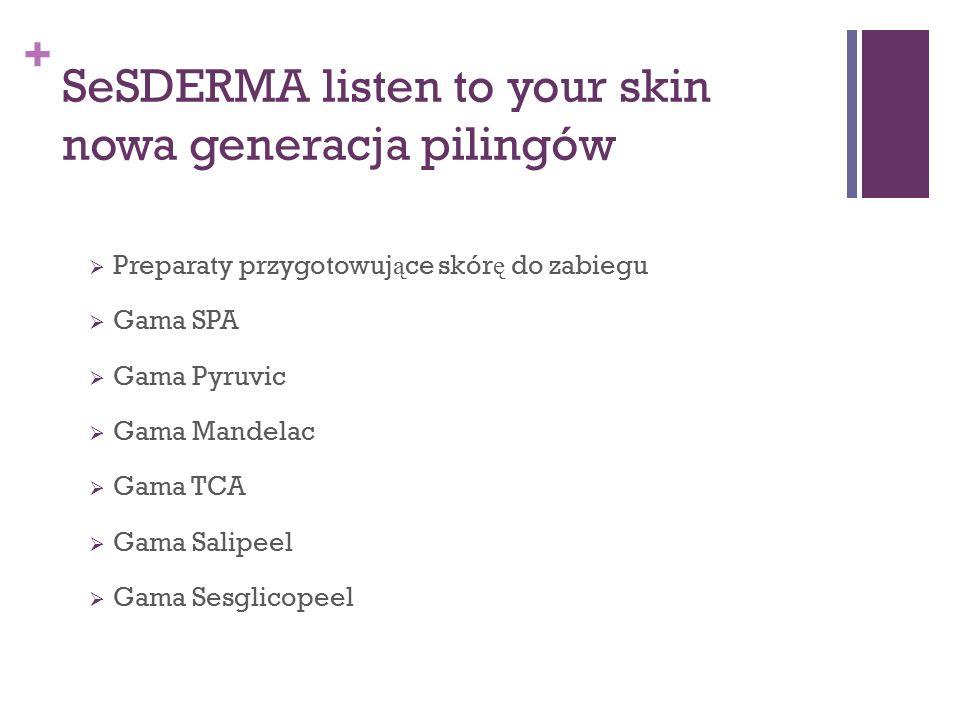 + SeSDERMA listen to your skin nowa generacja pilingów  Preparaty przygotowuj ą ce skór ę do zabiegu  Gama SPA  Gama Pyruvic  Gama Mandelac  Gama