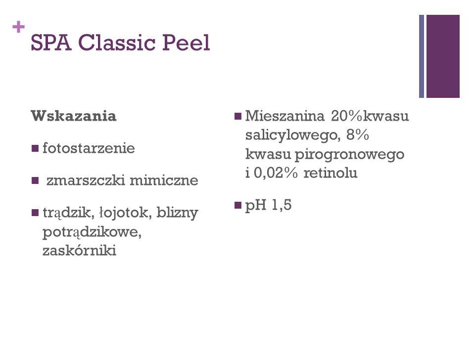 + SPA Classic Peel Wskazania fotostarzenie zmarszczki mimiczne tr ą dzik, ł ojotok, blizny potr ą dzikowe, zaskórniki Mieszanina 20%kwasu salicylowego
