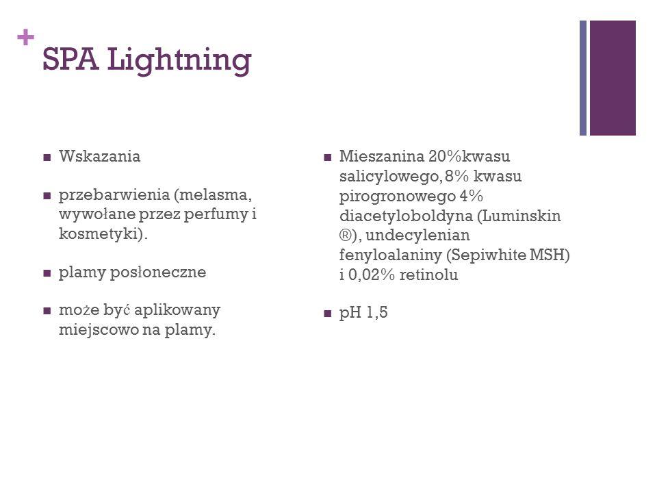 + SPA Lightning Wskazania przebarwienia (melasma, wywo ł ane przez perfumy i kosmetyki). plamy pos ł oneczne mo ż e by ć aplikowany miejscowo na plamy