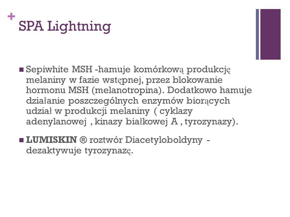+ SPA Lightning Sepiwhite MSH -hamuje komórkow ą produkcj ę melaniny w fazie wst ę pnej, przez blokowanie hormonu MSH (melanotropina). Dodatkowo hamuj