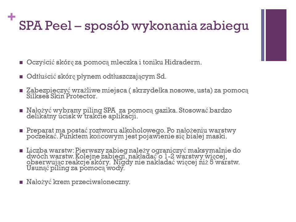 + SPA Peel – sposób wykonania zabiegu Oczy ś ci ć skór ę za pomoc ą mleczka i toniku Hidraderm. Odt ł u ś ci ć skór ę p ł ynem odt ł uszczaj ą cym Sd.