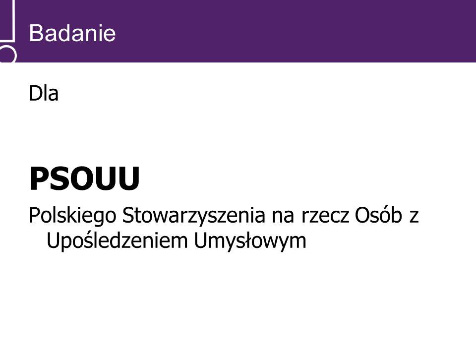 Badanie Dla PSOUU Polskiego Stowarzyszenia na rzecz Osób z Upośledzeniem Umysłowym
