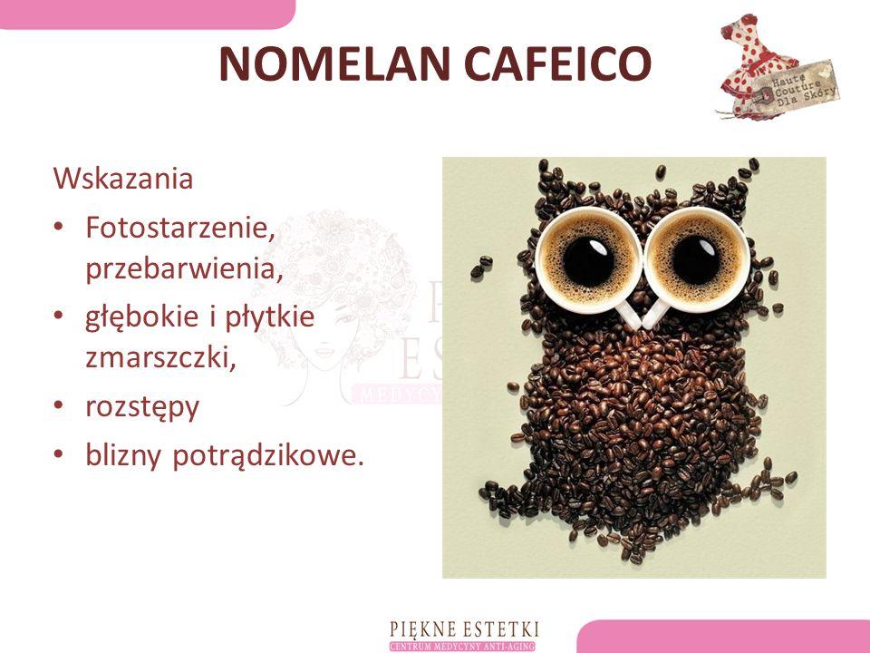 NOMELAN CAFEICO Wskazania Fotostarzenie, przebarwienia, głębokie i płytkie zmarszczki, rozstępy blizny potrądzikowe.