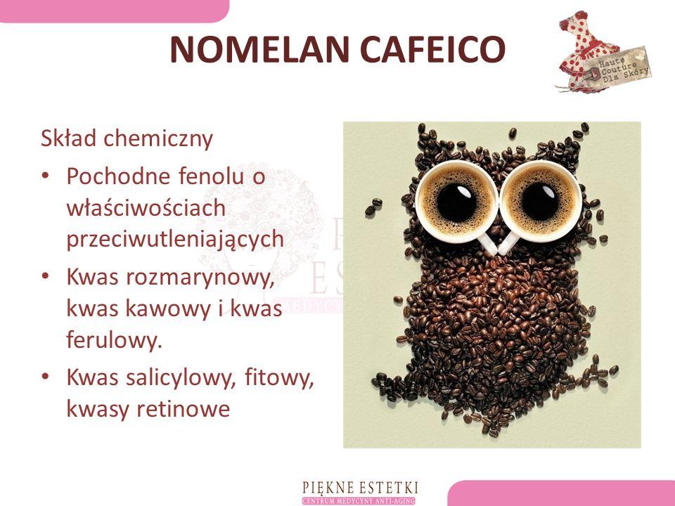 NOMELAN CAFEICO Skład chemiczny Pochodne fenolu o właściwościach przeciwutleniających Kwas rozmarynowy, kwas kawowy i kwas ferulowy.