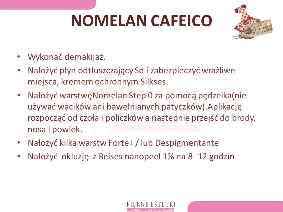 NOMELAN CAFEICO Wykonać demakijaż.