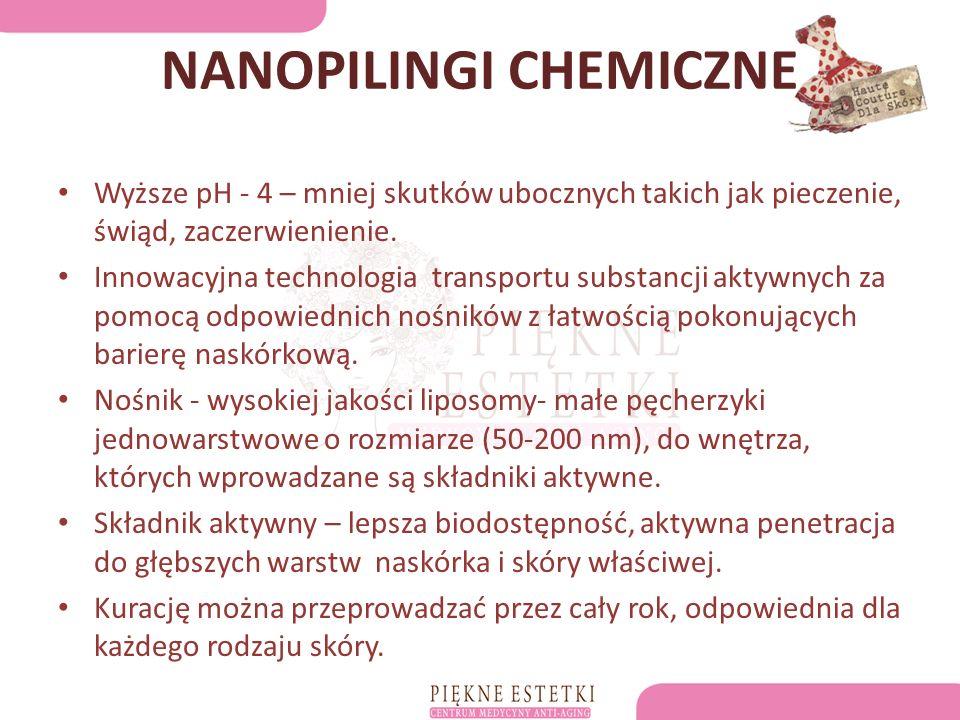 NANOPILINGI CHEMICZNE Wyższe pH - 4 – mniej skutków ubocznych takich jak pieczenie, świąd, zaczerwienienie.