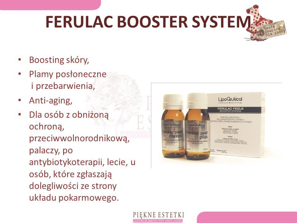 FERULAC BOOSTER SYSTEM Boosting skóry, Plamy posłoneczne i przebarwienia, Anti-aging, Dla osób z obniżoną ochroną, przeciwwolnorodnikową, palaczy, po antybiotykoterapii, lecie, u osób, które zgłaszają dolegliwości ze strony układu pokarmowego.