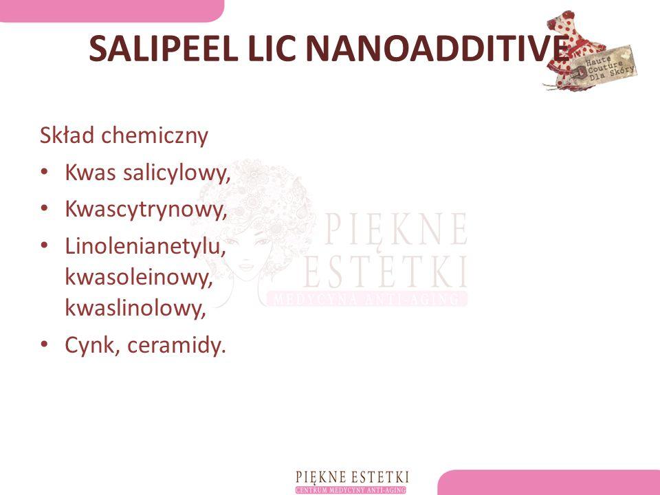 SALIPEEL LIC NANOADDITIVE Skład chemiczny Kwas salicylowy, Kwascytrynowy, Linolenianetylu, kwasoleinowy, kwaslinolowy, Cynk, ceramidy.