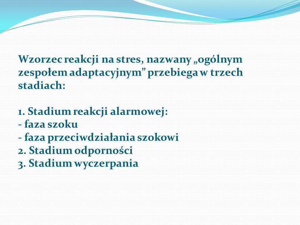 """Wzorzec reakcji na stres, nazwany """"ogólnym zespołem adaptacyjnym"""" przebiega w trzech stadiach: 1. Stadium reakcji alarmowej: - faza szoku - faza przec"""