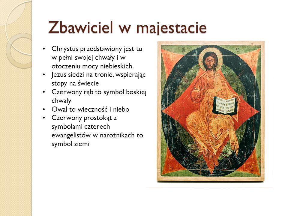 Zbawiciel w majestacie Chrystus przedstawiony jest tu w pełni swojej chwały i w otoczeniu mocy niebieskich.