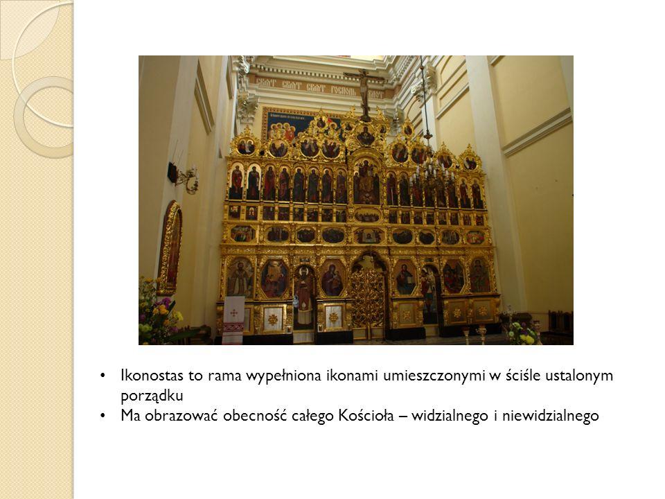 Ikonostas to rama wypełniona ikonami umieszczonymi w ściśle ustalonym porządku Ma obrazować obecność całego Kościoła – widzialnego i niewidzialnego