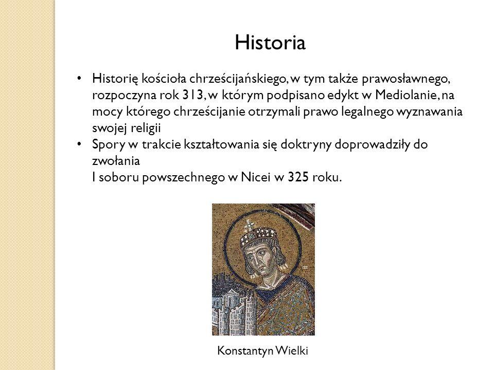 Historia Historię kościoła chrześcijańskiego, w tym także prawosławnego, rozpoczyna rok 313, w którym podpisano edykt w Mediolanie, na mocy którego chrześcijanie otrzymali prawo legalnego wyznawania swojej religii Spory w trakcie kształtowania się doktryny doprowadziły do zwołania I soboru powszechnego w Nicei w 325 roku.