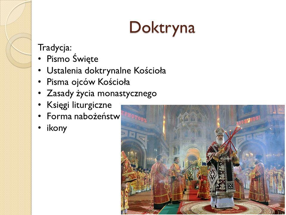 Doktryna Tradycja: Pismo Święte Ustalenia doktrynalne Kościoła Pisma ojców Kościoła Zasady życia monastycznego Księgi liturgiczne Forma nabożeństw ikony