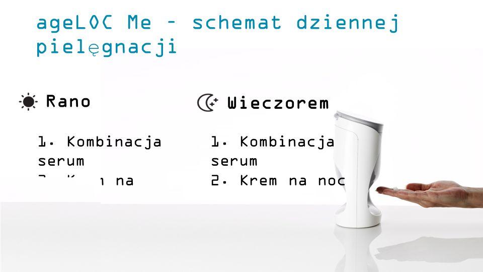 ageLOC Me – schemat dziennej pielęgnacji Rano Wieczorem 1. Kombinacja serum 2. Krem na dzień 1. Kombinacja serum 2. Krem na noc