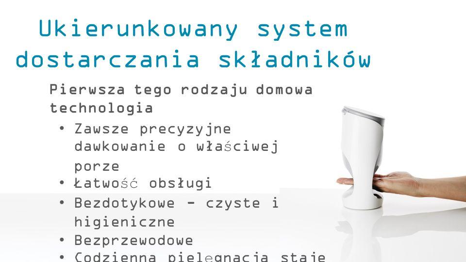 Ukierunkowany system dostarczania składników Pierwsza tego rodzaju domowa technologia Zawsze precyzyjne dawkowanie o właściwej porze Łatwość obsługi B