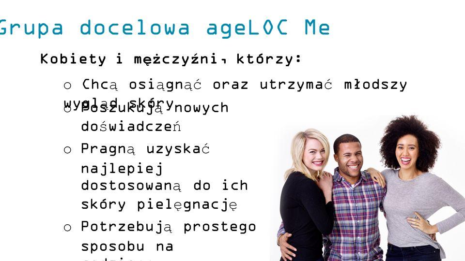 Grupa docelowa ageLOC Me Kobiety i mężczyźni, którzy: o Poszukują nowych doświadczeń o Pragną uzyskać najlepiej dostosowaną do ich skóry pielęgnację o