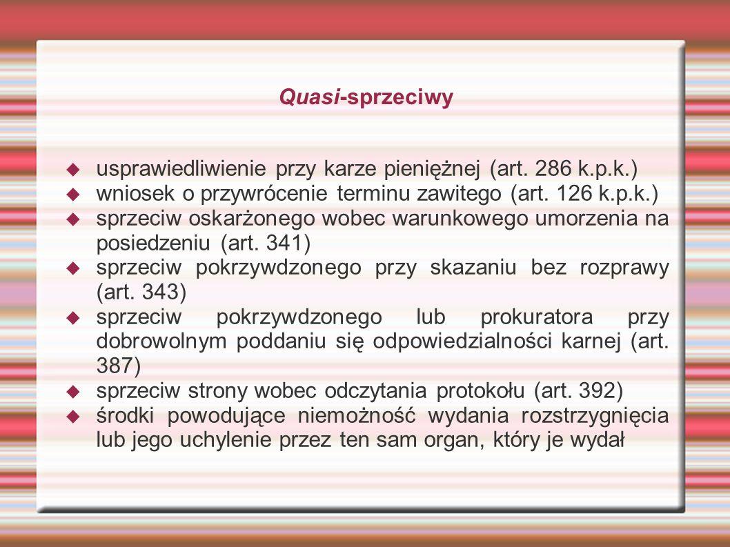 Quasi-sprzeciwy  usprawiedliwienie przy karze pieniężnej (art.