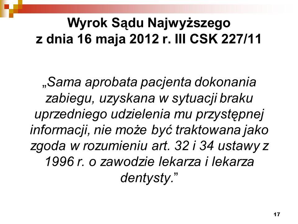 Wyrok Sądu Najwyższego z dnia 16 maja 2012 r.