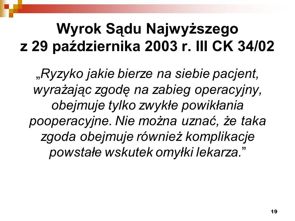 Wyrok Sądu Najwyższego z 29 października 2003 r.