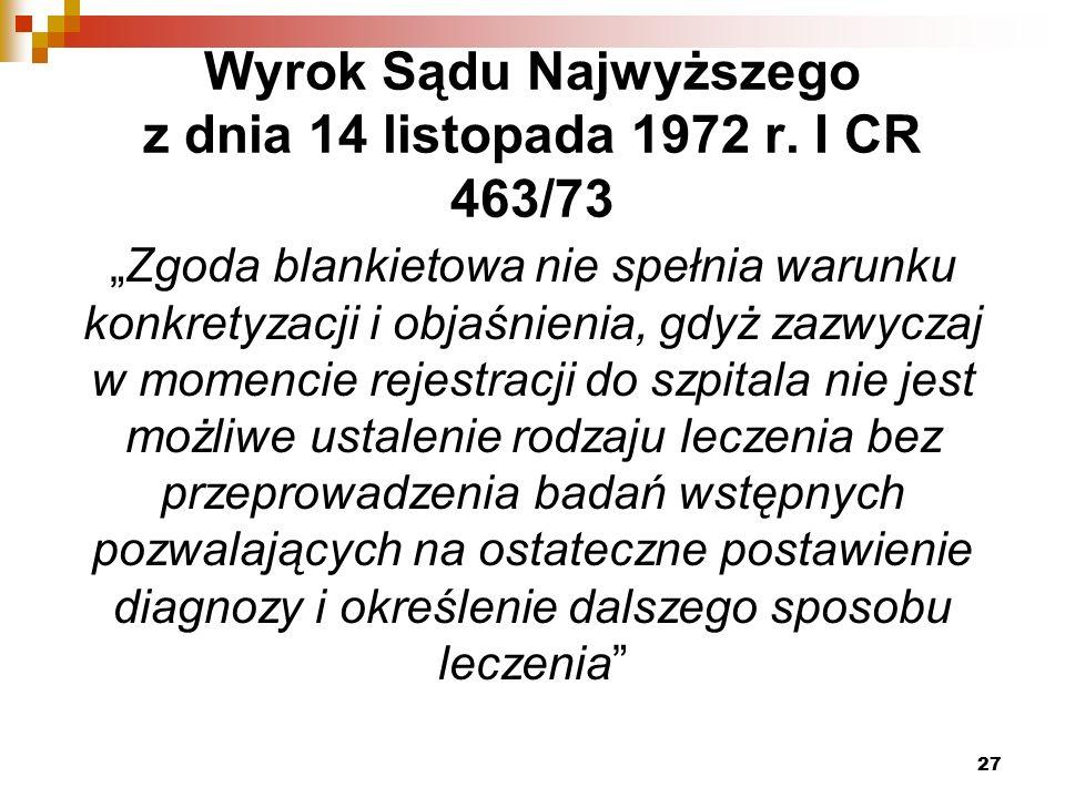 Wyrok Sądu Najwyższego z dnia 14 listopada 1972 r.