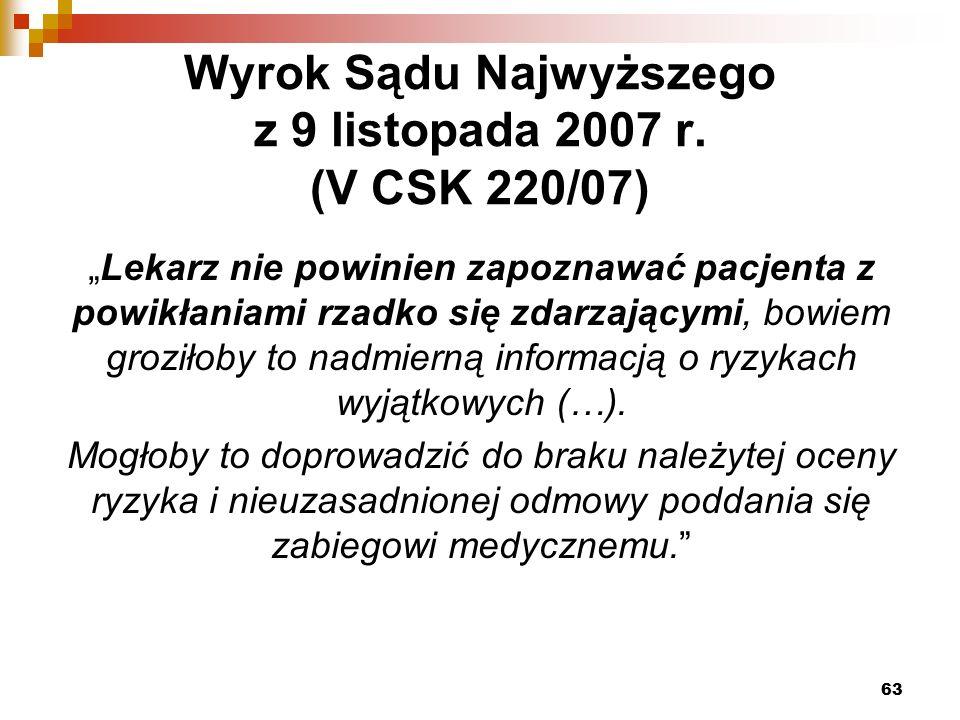 Wyrok Sądu Najwyższego z 9 listopada 2007 r.