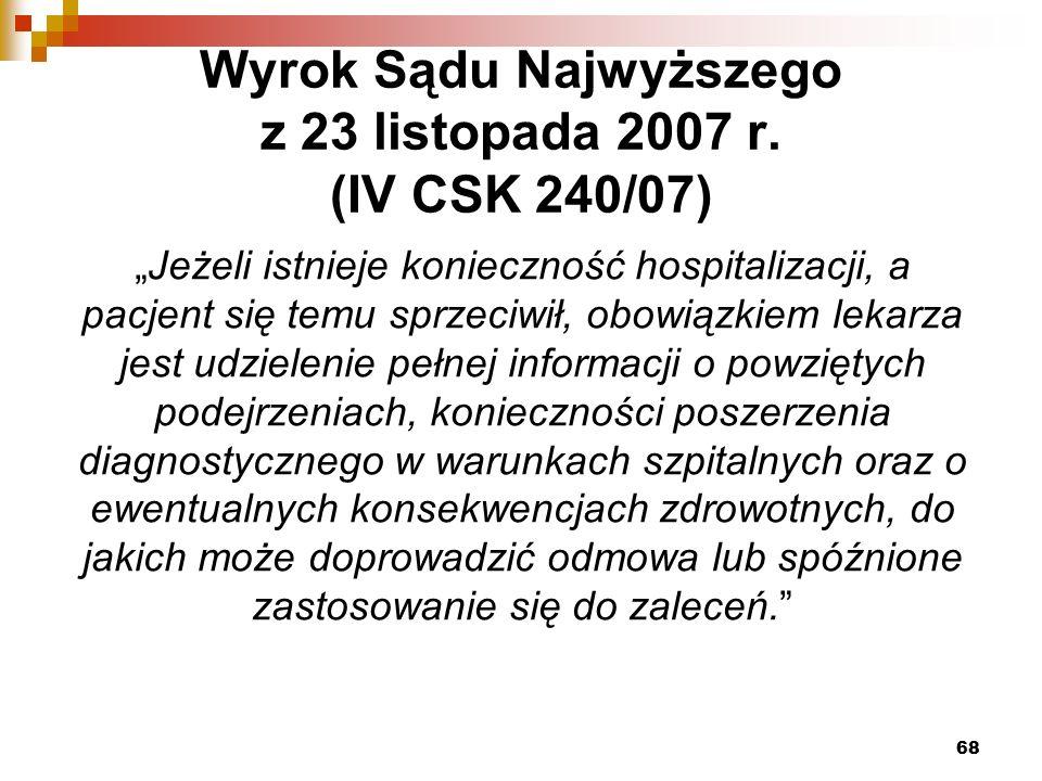 Wyrok Sądu Najwyższego z 23 listopada 2007 r.