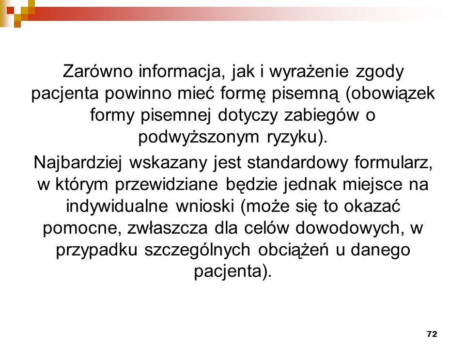 Zarówno informacja, jak i wyrażenie zgody pacjenta powinno mieć formę pisemną (obowiązek formy pisemnej dotyczy zabiegów o podwyższonym ryzyku).