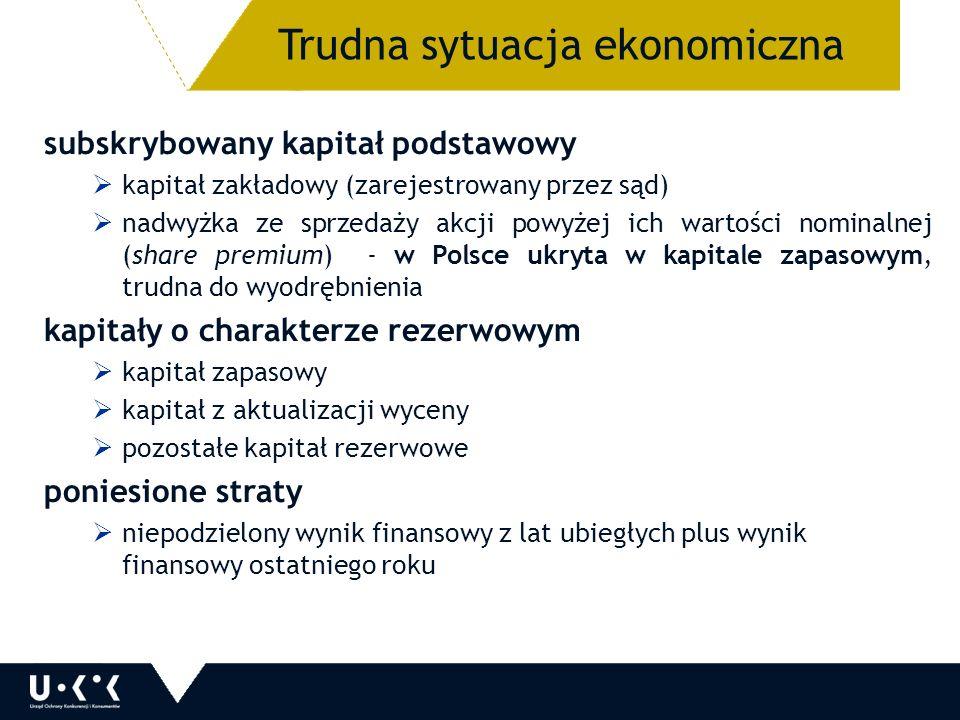subskrybowany kapitał podstawowy  kapitał zakładowy (zarejestrowany przez sąd)  nadwyżka ze sprzedaży akcji powyżej ich wartości nominalnej (share premium) - w Polsce ukryta w kapitale zapasowym, trudna do wyodrębnienia kapitały o charakterze rezerwowym  kapitał zapasowy  kapitał z aktualizacji wyceny  pozostałe kapitał rezerwowe poniesione straty  niepodzielony wynik finansowy z lat ubiegłych plus wynik finansowy ostatniego roku 11 Trudna sytuacja ekonomiczna