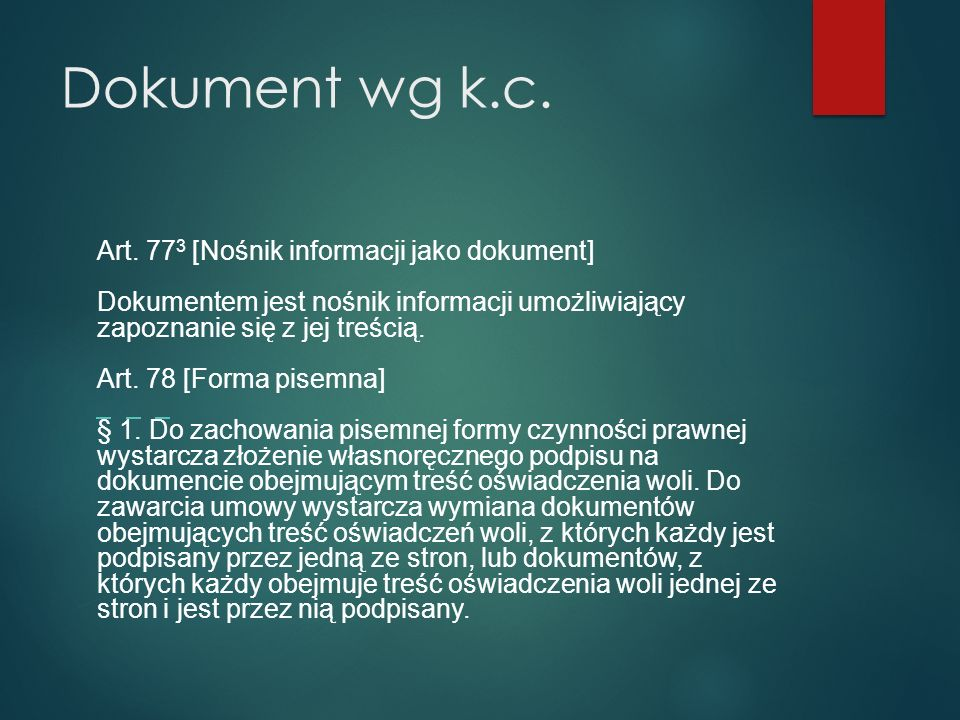 Dokument wg k.c. Art.