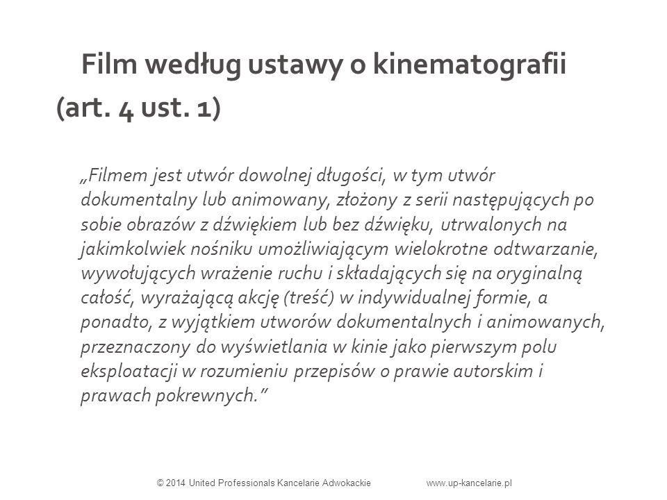 Film według ustawy o kinematografii (art. 4 ust.