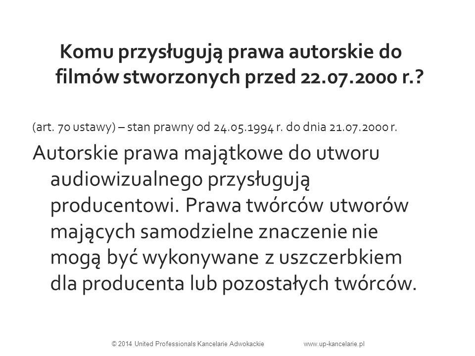 Komu przysługują prawa autorskie do filmów stworzonych przed 22.07.2000 r..