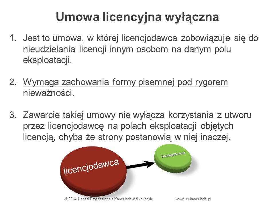 Umowa licencyjna wyłączna 1.Jest to umowa, w której licencjodawca zobowiązuje się do nieudzielania licencji innym osobom na danym polu eksploatacji.