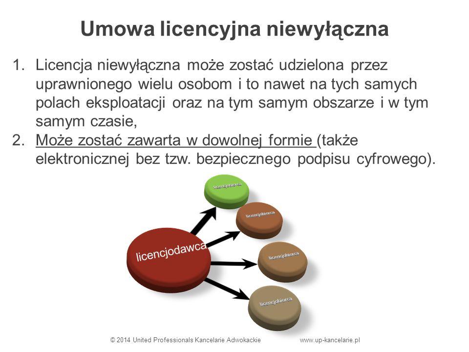 Umowa licencyjna niewyłączna 1.Licencja niewyłączna może zostać udzielona przez uprawnionego wielu osobom i to nawet na tych samych polach eksploatacji oraz na tym samym obszarze i w tym samym czasie, 2.Może zostać zawarta w dowolnej formie (także elektronicznej bez tzw.
