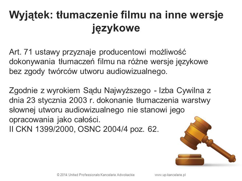 Wyjątek: tłumaczenie filmu na inne wersje językowe Art.