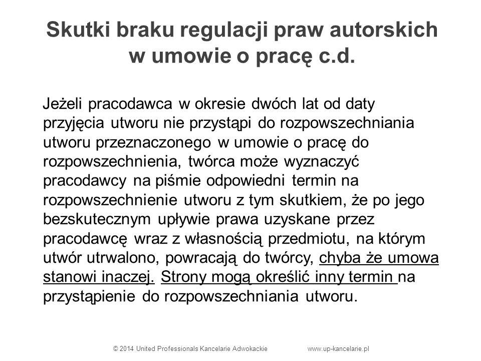 Skutki braku regulacji praw autorskich w umowie o pracę c.d.