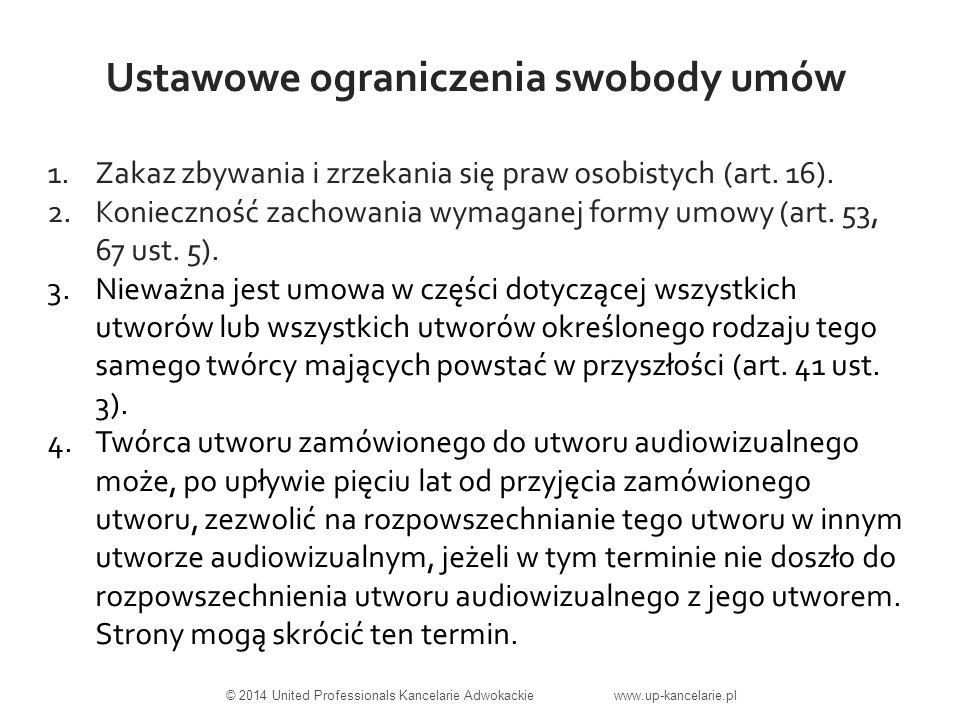 Ustawowe ograniczenia swobody umów 1.Zakaz zbywania i zrzekania się praw osobistych (art.
