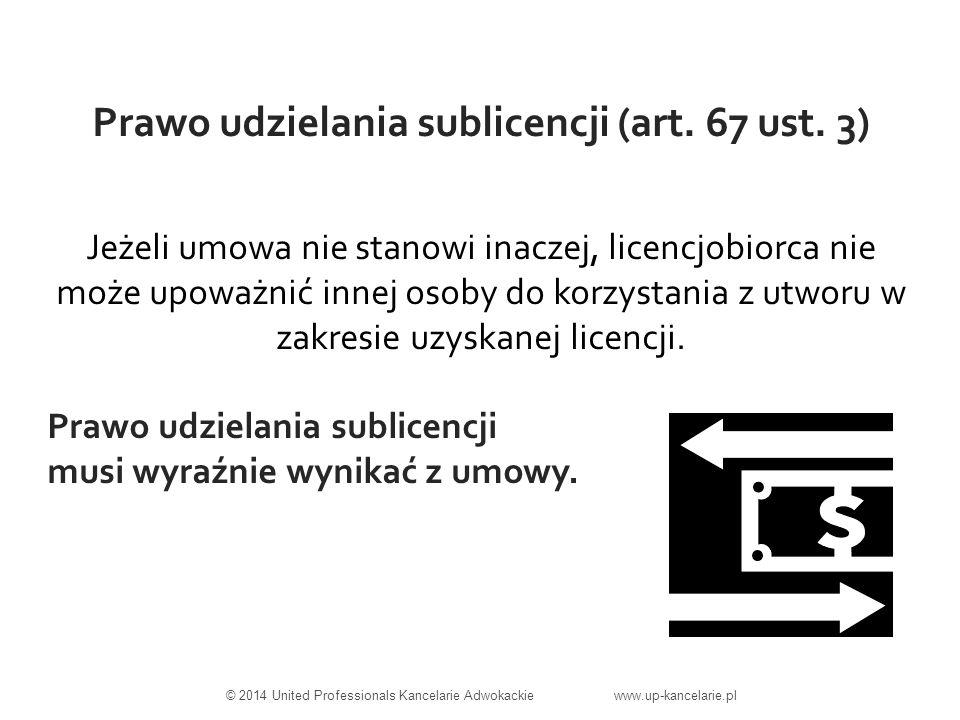 Prawo udzielania sublicencji (art. 67 ust.