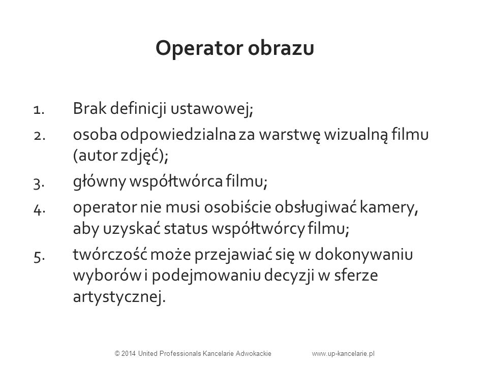 Zasada nabycia praw do zdjęć filmowych w drodze umownej - prawa autorskie przysługują twórcy (współtwórcom), - producent nie nabywa praw do filmu z mocy ustawy, - producent nabywa prawa do filmu poprzez zawarcie umów ze współtwórcami filmu, - zakres nabytych praw zależy od treści zawartych umów, - nabycie praw podlega pewnym ograniczeniom ustawowym.