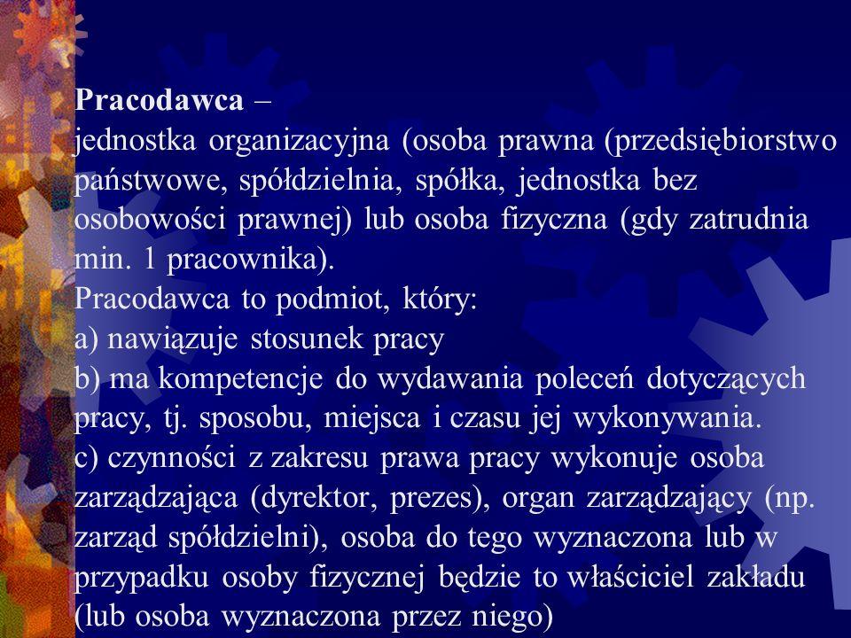 Pracodawca – jednostka organizacyjna (osoba prawna (przedsiębiorstwo państwowe, spółdzielnia, spółka, jednostka bez osobowości prawnej) lub osoba fizyczna (gdy zatrudnia min.