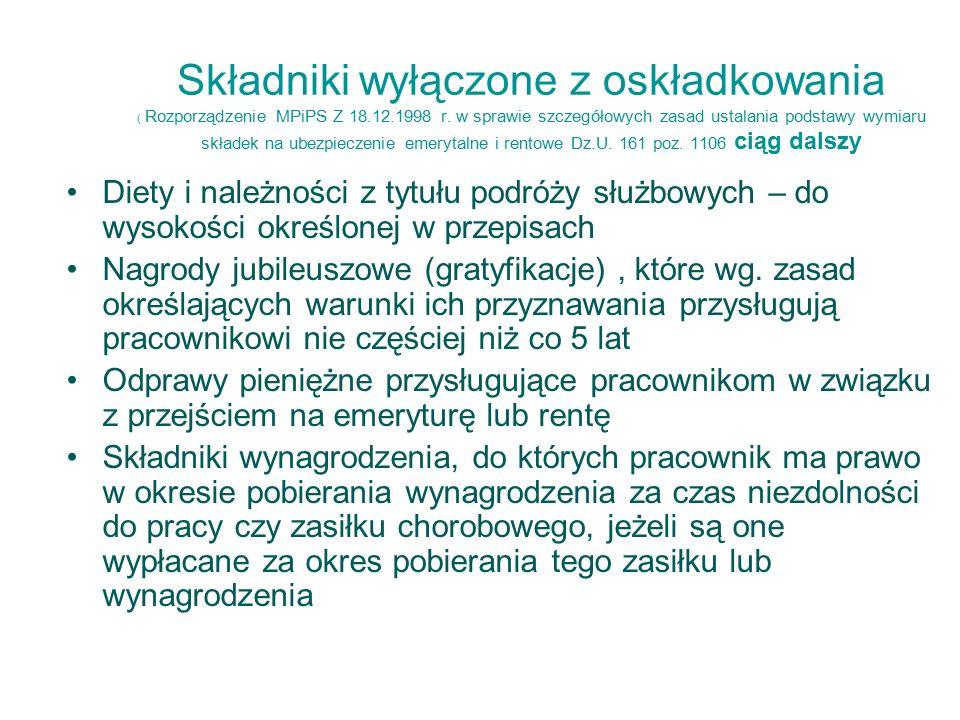 Składniki wyłączone z oskładkowania ( Rozporządzenie MPiPS Z 18.12.1998 r.
