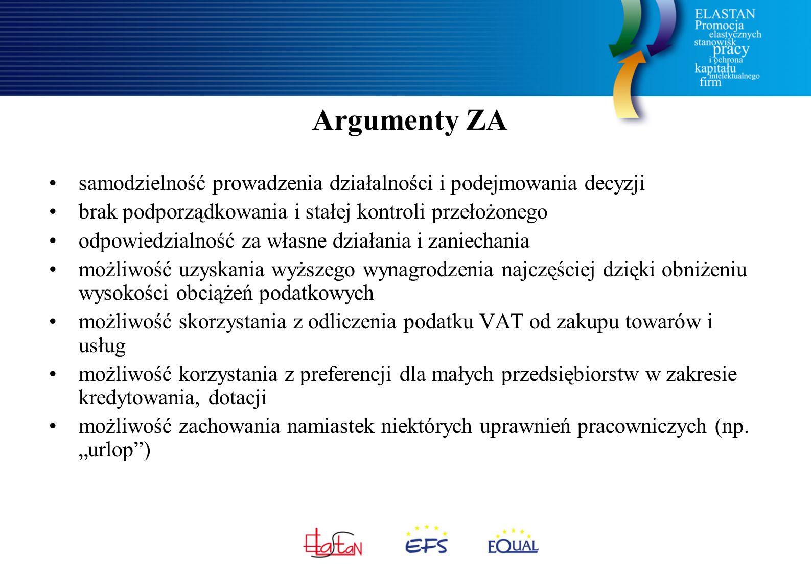 Argumenty ZA samodzielność prowadzenia działalności i podejmowania decyzji brak podporządkowania i stałej kontroli przełożonego odpowiedzialność za wł