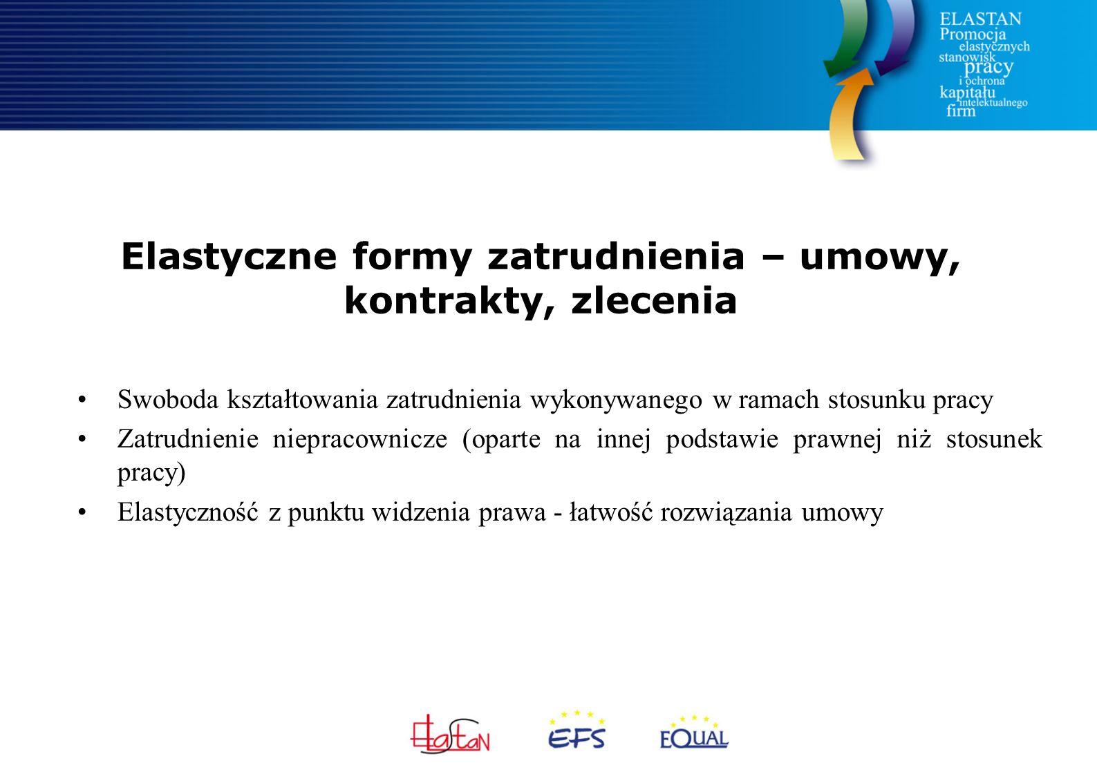 Elastyczne formy zatrudnienia – umowy, kontrakty, zlecenia Swoboda kształtowania zatrudnienia wykonywanego w ramach stosunku pracy Zatrudnienie niepra