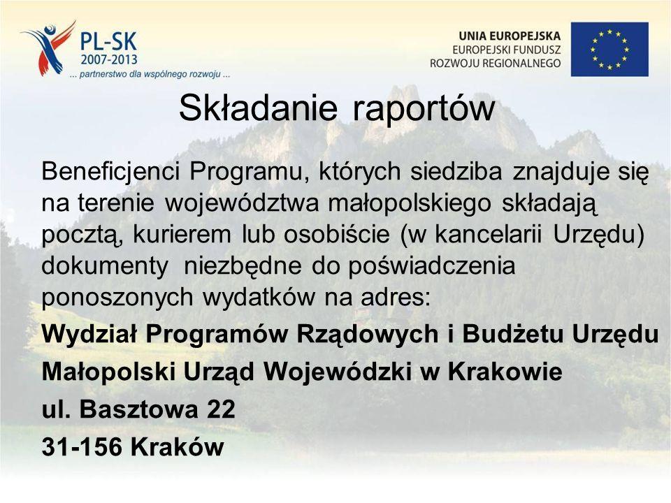 Składanie raportów Beneficjenci Programu, których siedziba znajduje się na terenie województwa małopolskiego składają pocztą, kurierem lub osobiście (w kancelarii Urzędu) dokumenty niezbędne do poświadczenia ponoszonych wydatków na adres: Wydział Programów Rządowych i Budżetu Urzędu Małopolski Urząd Wojewódzki w Krakowie ul.