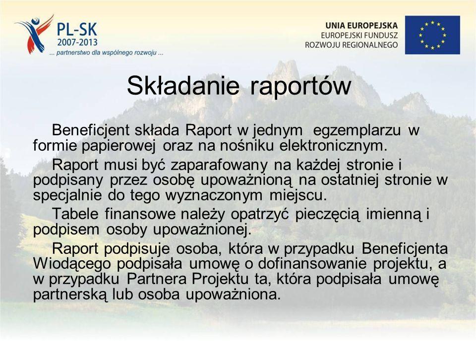 Składanie raportów Beneficjent składa Raport w jednym egzemplarzu w formie papierowej oraz na nośniku elektronicznym. Raport musi być zaparafowany na