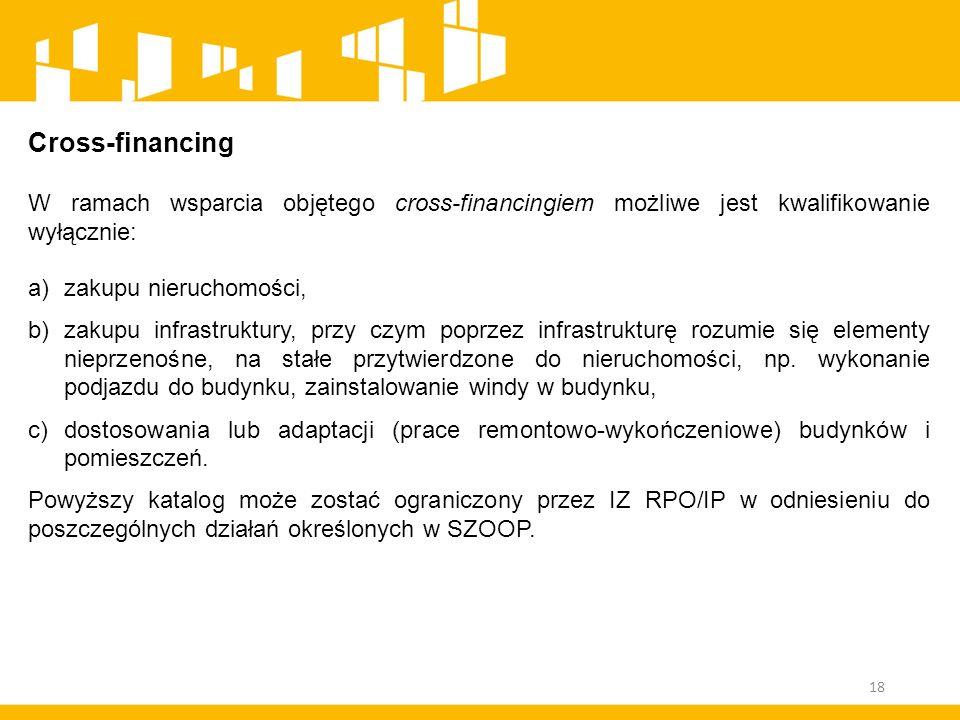 Cross-financing W ramach wsparcia objętego cross-financingiem możliwe jest kwalifikowanie wyłącznie: a)zakupu nieruchomości, b)zakupu infrastruktury,