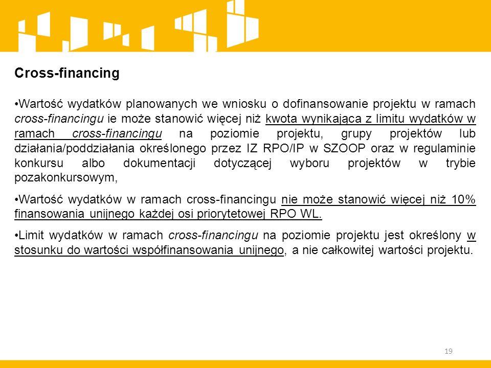 Cross-financing Wartość wydatków planowanych we wniosku o dofinansowanie projektu w ramach cross-financingu ie może stanowić więcej niż kwota wynikają
