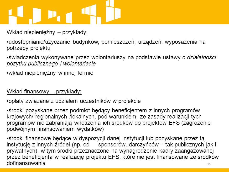 Wkład niepieniężny – przykłady: udostępnianie/użyczanie budynków, pomieszczeń, urządzeń, wyposażenia na potrzeby projektu świadczenia wykonywane przez